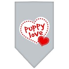 Mirage Pet Products Puppy Love Screen Print Bandana Grey Large