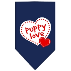 Mirage Pet Products Puppy Love Screen Print Bandana Navy Blue Small