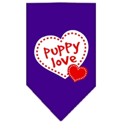 Mirage Pet Products Puppy Love Screen Print Bandana Purple Large