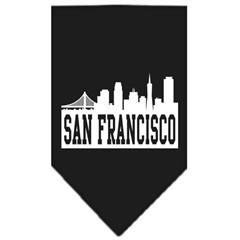 Mirage Pet Products San Francisco Skyline Screen Print Bandana Black Large