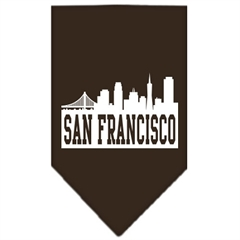 Mirage Pet Products San Francisco Skyline Screen Print Bandana Cocoa Large