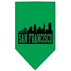 Mirage Pet Products San Francisco Skyline Screen Print Bandana Emerald Green Large