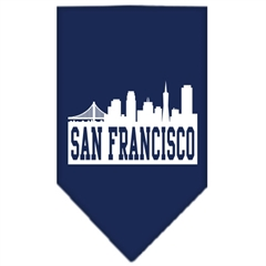 Mirage Pet Products San Francisco Skyline Screen Print Bandana Navy Blue Small