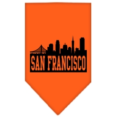 Mirage Pet Products San Francisco Skyline Screen Print Bandana Orange Large