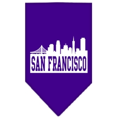 Mirage Pet Products San Francisco Skyline Screen Print Bandana Purple Large
