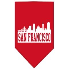 Mirage Pet Products San Francisco Skyline Screen Print Bandana Red Small