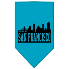 Mirage Pet Products San Francisco Skyline Screen Print Bandana Turquoise Large