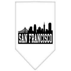 Mirage Pet Products San Francisco Skyline Screen Print Bandana White Large