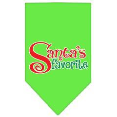 Mirage Pet Products Santas Favorite Screen Print Pet Bandana Lime Green Size Small
