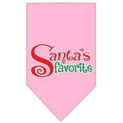 Mirage Pet Products Santas Favorite Screen Print Pet Bandana Light Pink Size Small
