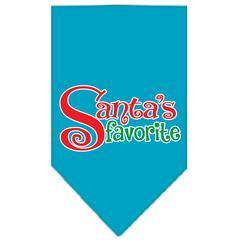 Mirage Pet Products Santas Favorite Screen Print Pet Bandana Turquoise Size Small