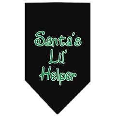 Mirage Pet Products Santa Lil Helper Screen Print Bandana Black Large