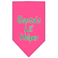 Mirage Pet Products Santa Lil Helper Screen Print Bandana Bright Pink Small