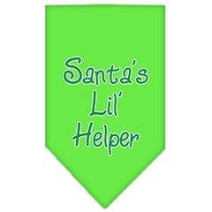 Mirage Pet Products Santa Lil Helper Screen Print Bandana Lime Green Small