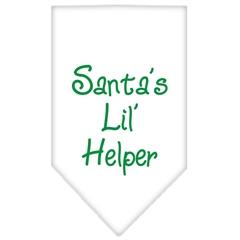 Mirage Pet Products Santa Lil Helper Screen Print Bandana White Small