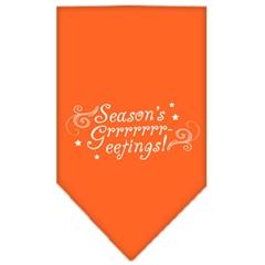 Mirage Pet Products Seasons Greetings Screen Print Bandana Orange Large