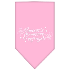 Mirage Pet Products Seasons Greetings Screen Print Bandana Light Pink Small