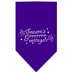 Mirage Pet Products Seasons Greetings Screen Print Bandana Purple Small