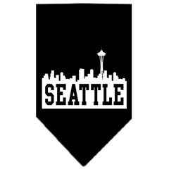 Mirage Pet Products Seattle Skyline Screen Print Bandana Black Large