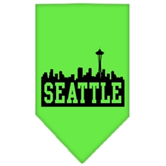 Mirage Pet Products Seattle Skyline Screen Print Bandana Lime Green Large