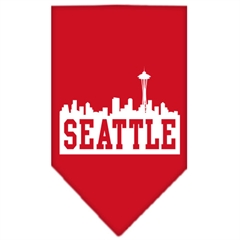 Mirage Pet Products Seattle Skyline Screen Print Bandana Red Large