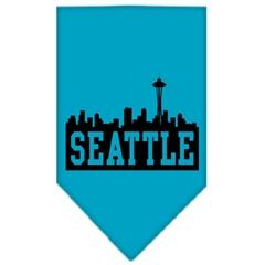 Mirage Pet Products Seattle Skyline Screen Print Bandana Turquoise Large