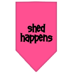 Mirage Pet Products Shed Happens  Screen Print Bandana Bright Pink Large