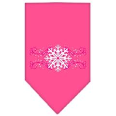 Mirage Pet Products Pink Snowflake Swirls Screen Print Bandana Bright Pink Small