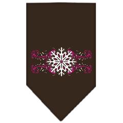 Mirage Pet Products Pink Snowflake Swirls Screen Print Bandana Cocoa Large