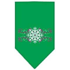 Mirage Pet Products Pink Snowflake Swirls Screen Print Bandana Emerald Green Large