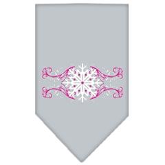 Mirage Pet Products Pink Snowflake Swirls Screen Print Bandana Grey Large