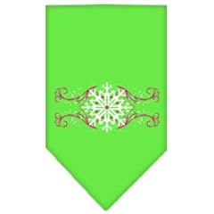 Mirage Pet Products Pink Snowflake Swirls Screen Print Bandana Lime Green Small