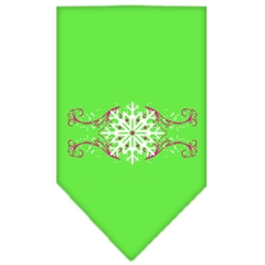 Mirage Pet Products Pink Snowflake Swirls Screen Print Bandana Lime Green Large