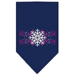 Mirage Pet Products Pink Snowflake Swirls Screen Print Bandana Navy Blue Small