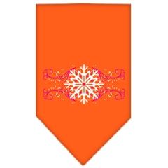 Mirage Pet Products Pink Snowflake Swirls Screen Print Bandana Orange Small