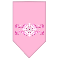 Mirage Pet Products Pink Snowflake Swirls Screen Print Bandana Light Pink Small