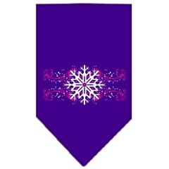 Mirage Pet Products Pink Snowflake Swirls Screen Print Bandana Purple Large