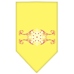 Mirage Pet Products Pink Snowflake Swirls Screen Print Bandana Yellow Large