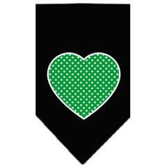 Mirage Pet Products Green Swiss Dot Heart Screen Print Bandana Black Large