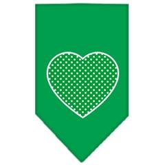 Mirage Pet Products Green Swiss Dot Heart Screen Print Bandana Emerald Green Large