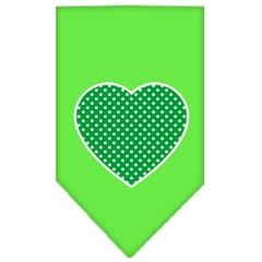 Mirage Pet Products Green Swiss Dot Heart Screen Print Bandana Lime Green Small