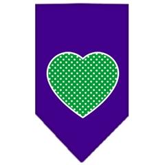 Mirage Pet Products Green Swiss Dot Heart Screen Print Bandana Purple Large