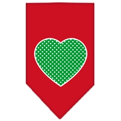 Mirage Pet Products Green Swiss Dot Heart Screen Print Bandana Red Small