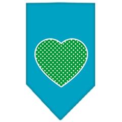Mirage Pet Products Green Swiss Dot Heart Screen Print Bandana Turquoise Small