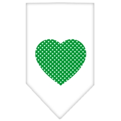 Mirage Pet Products Green Swiss Dot Heart Screen Print Bandana White Small