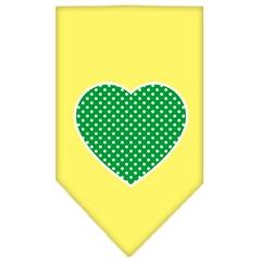 Mirage Pet Products Green Swiss Dot Heart Screen Print Bandana Yellow Small
