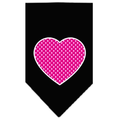 Mirage Pet Products Pink Swiss Dot Heart Screen Print Bandana Black Large