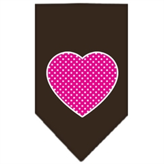 Mirage Pet Products Pink Swiss Dot Heart Screen Print Bandana Cocoa Large