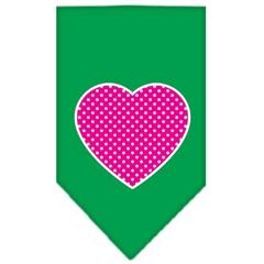Mirage Pet Products Pink Swiss Dot Heart Screen Print Bandana Emerald Green Small