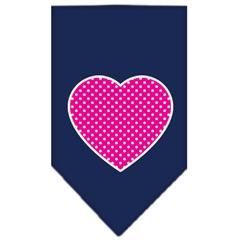 Mirage Pet Products Pink Swiss Dot Heart Screen Print Bandana Navy Blue large